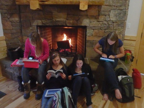 Studying by the fire