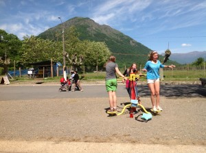 Students test out new exercise equipment in San Fabian, Chile