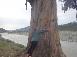 Jessica hugs a eucalyptus tree at our take-out on the banks of the Río Teno