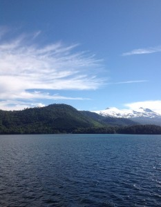 View from the ferry to Argentina. The snow capped volcano in the back ground is Mocho-Choshuenco.
